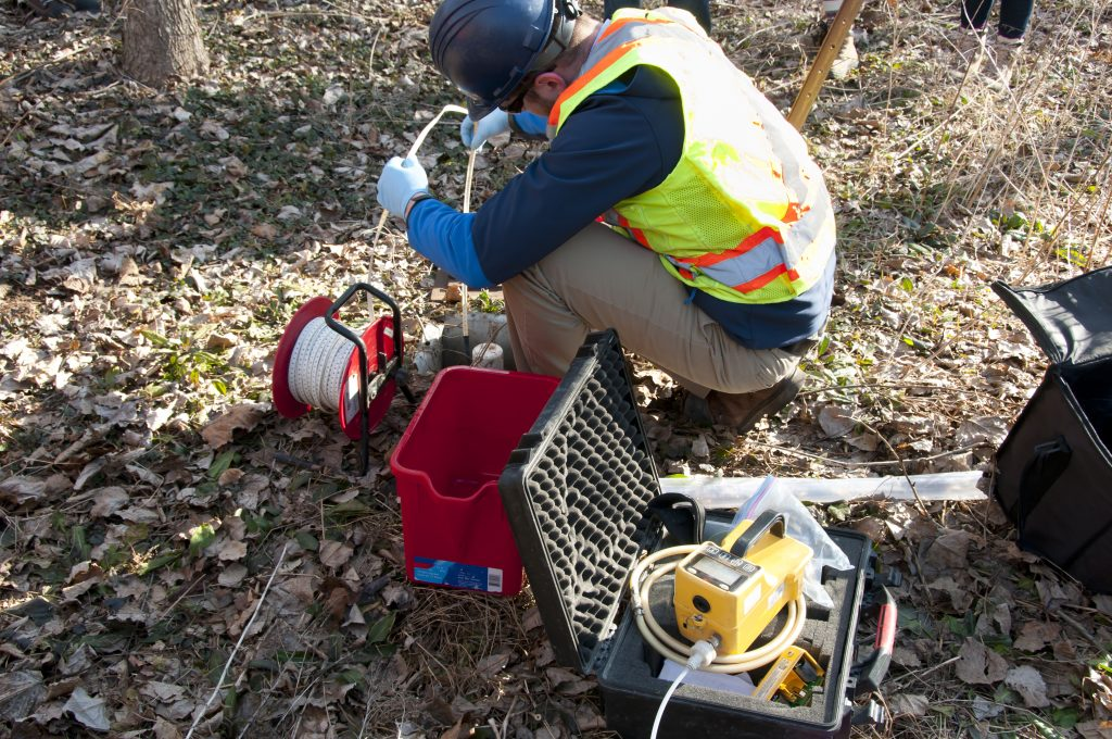 Water sampling in well inspection and testing